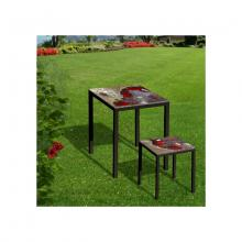 Tisch und Hocker aus Lavastein Friends Red Rocks
