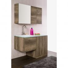Wandgehängte Badezimmer-Zusammensetzung Unika cm 129 dunkle Ulme