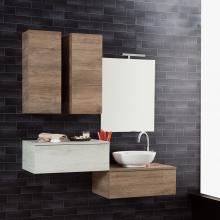 Wandgehängte Badezimmer-Zusammensetzung Unika 140 natürliche und weiße Ulme