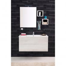 Wandgehängte Badezimmer-Zusammensetzung Unika cm 100 weiß ulme