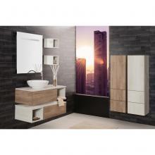 Wandgehängte Badezimmer-Zusammensetzung Unika cm 100 mit spalten