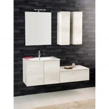 Wandgehängte Badezimmer-Zusammensetzung Unika cm 140 weiße Ulme