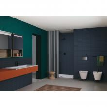 Arbeitsplatte / Wandwaschbecken cm 121x51 Einzel- oder Doppelbecken Slim