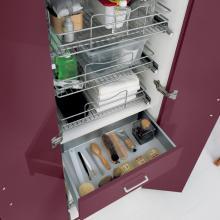 Wäschesäule mit zwei Türen, drei Behältern, Schublade und Korb Colf