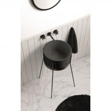Waschbecken mit Struktur Ibrido Runde Matt Kosmos grau