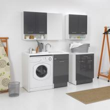 Waschmaschinenschrank mit Wäschekorb 106x60xH89 Duo Recht Tür