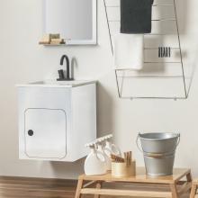 Waschtischunterschrank cm 52x50 mit Keramikwaschtisch Alluminium