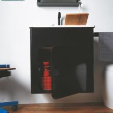 Waschtischunterschrank 60x50 mit Keramikwaschtisch Alluminium