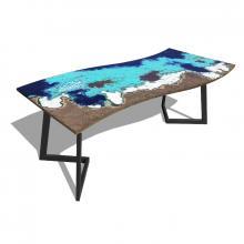 Moderner Tisch aus Lavastein und Eisen Onda