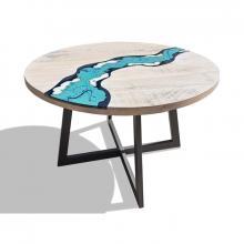 Moderner Tisch aus Holz und eingelassenem Lavastein River
