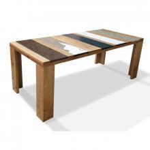 Moderner Tisch aus Holz und eingelassenem Lavastein Xilo