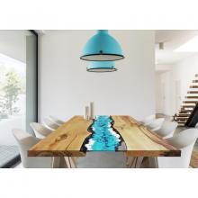 Moderner Tisch aus Holz und eingelassenem Lavastein Life Oceanside