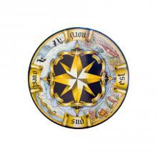 Runde Lavastein-Tischplatte Rosa dei Venti Antico