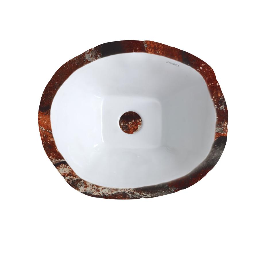 Oval Aufsatzbecken/wandhängend waschbecken Terra Rot Verona