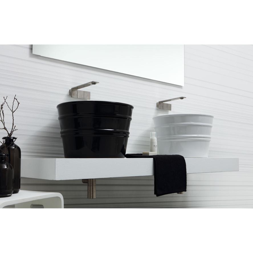 Rundes Aufsatzbecken/wandhängend Waschbecken Bacile Weiß
