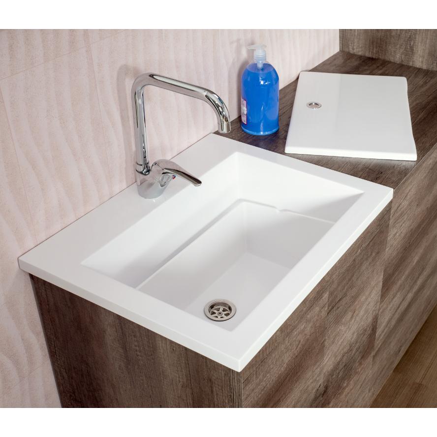 Einbau-Waschtisch cm 60x49 Zeus mit tablette