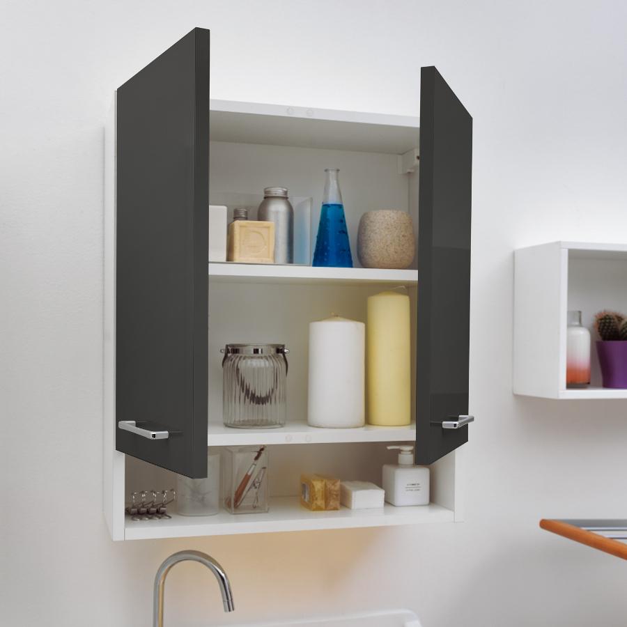 Wäscheschrank mit zwei Türen und Regal 60x24x70 Jolly