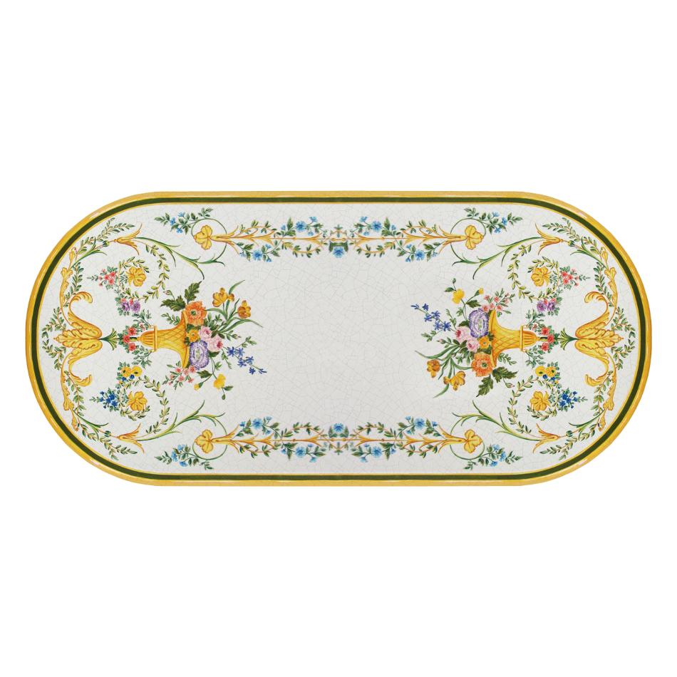 Ovale Lavastein-Tischplatte Settecento