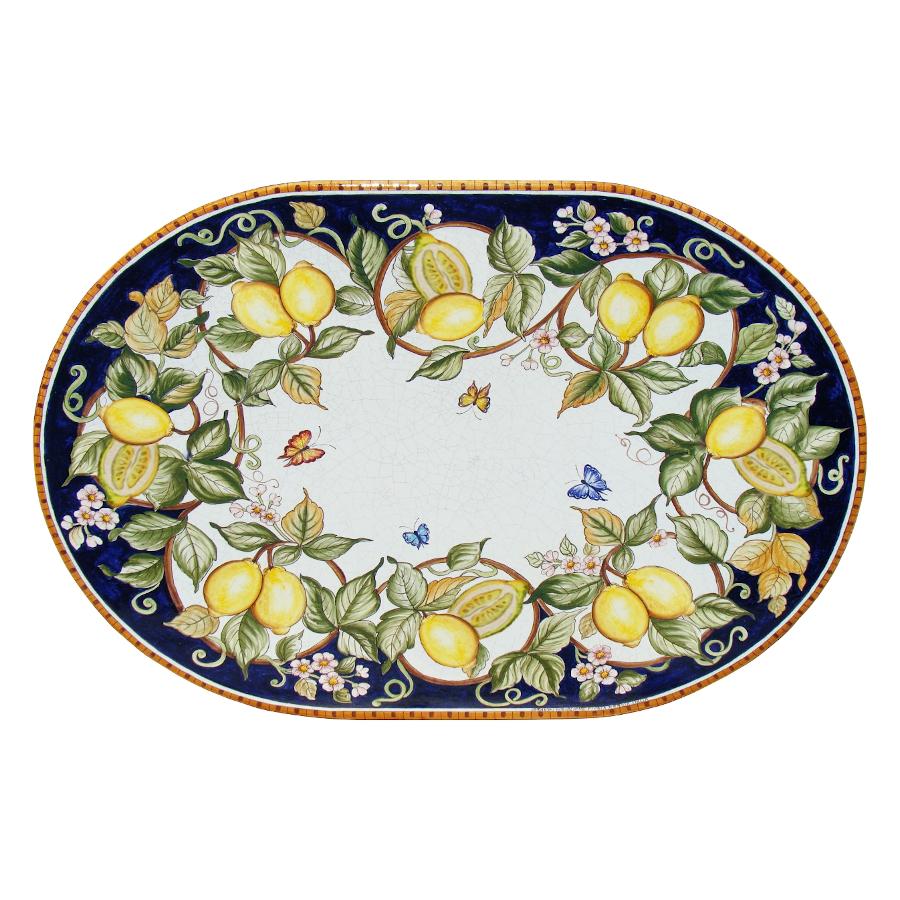Ovale Lavastein-Tischplatte Fantasia di Limoni