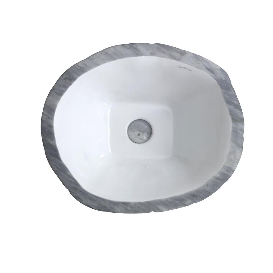 Oval Aufsatzbecken/wandhängend waschbecken Terra Bardiglio