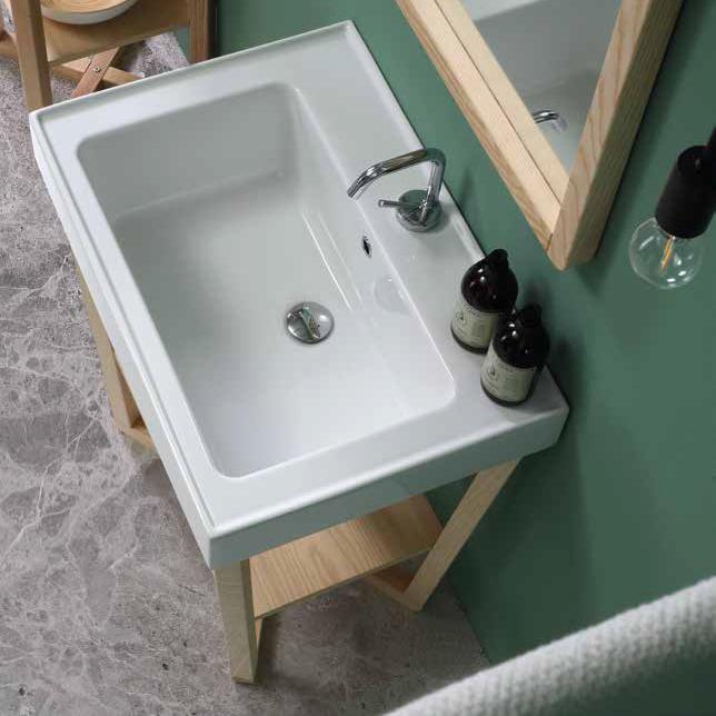 Hängendes Aufsatzwaschbecken aus Keramik 70x50 Trix